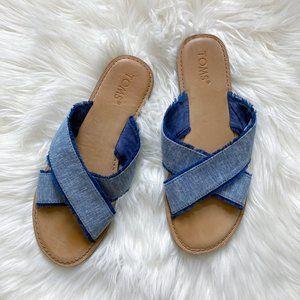 Toms Denim Chambray Fray Crossband Slide Sandals